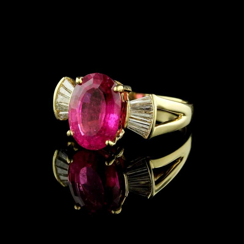 Pink Tourmaline and Diamond 14K Yellow Gold Ring