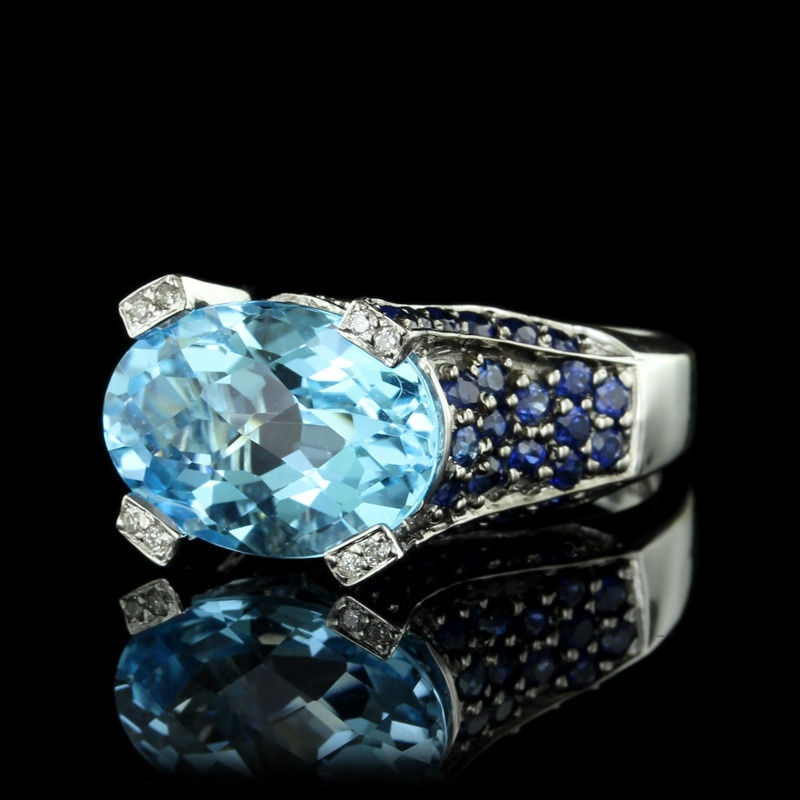 White Gold Blue Topaz, Sapphire and Diamond Ring