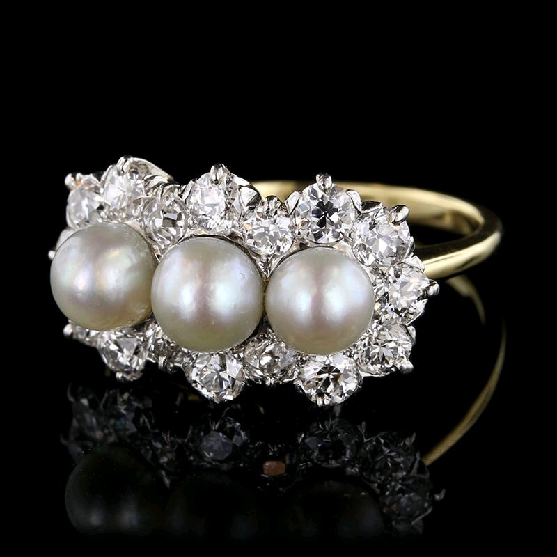 antique 18k yellow gold platnium pearl and diamond ring