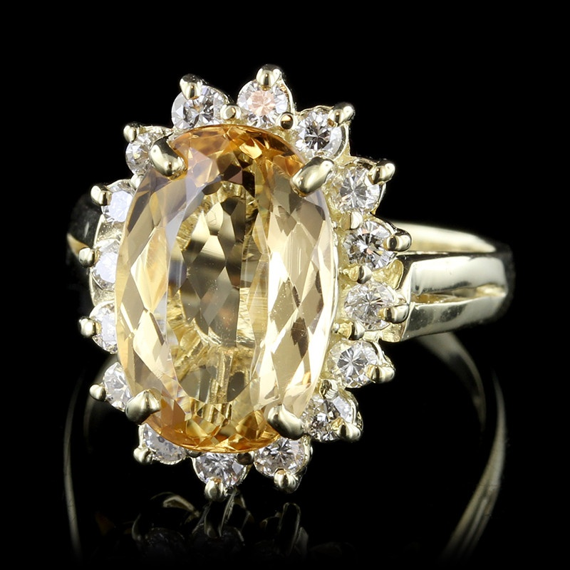 14K Yellow Gold Yellow Topaz Diamond Ring