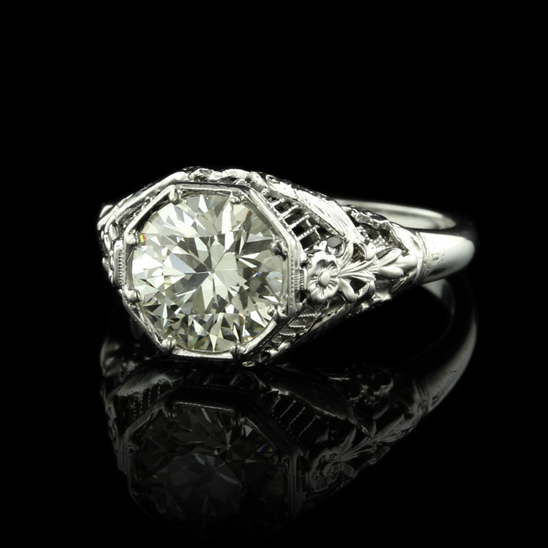 Antique Platinum Diamond Solitaire Engagement Ring