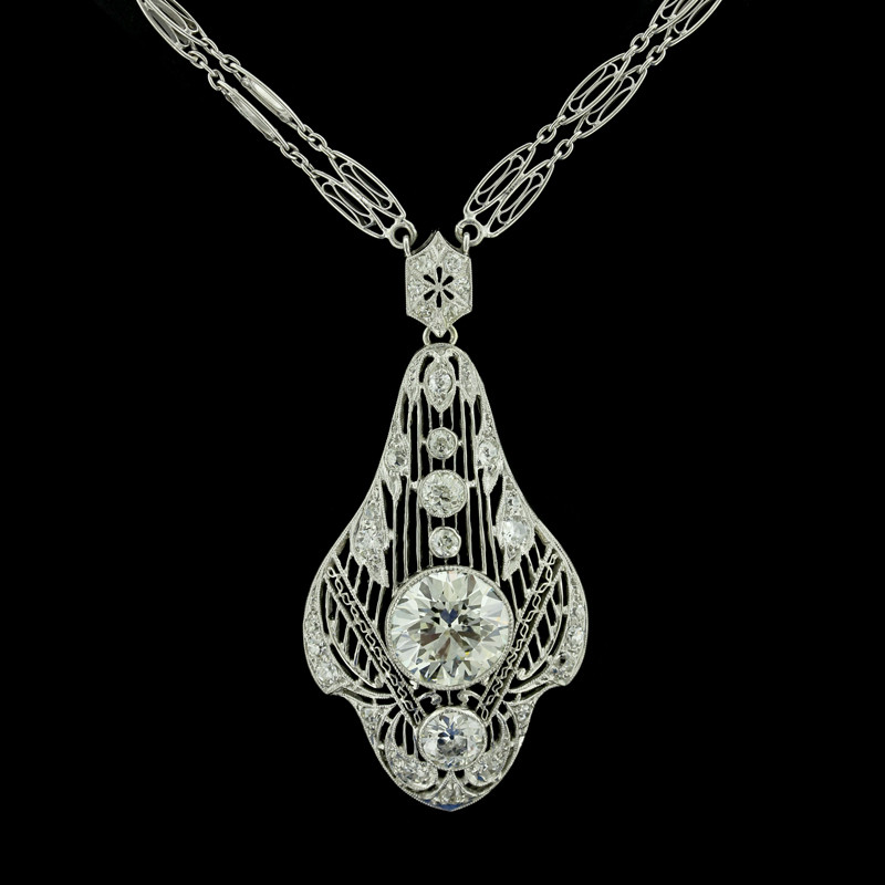 Edwardian/Early Art Deco Platinum Diamond Necklace