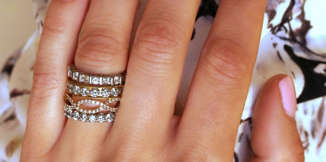 Stacks of Eternity Bands by Long's Jewelers