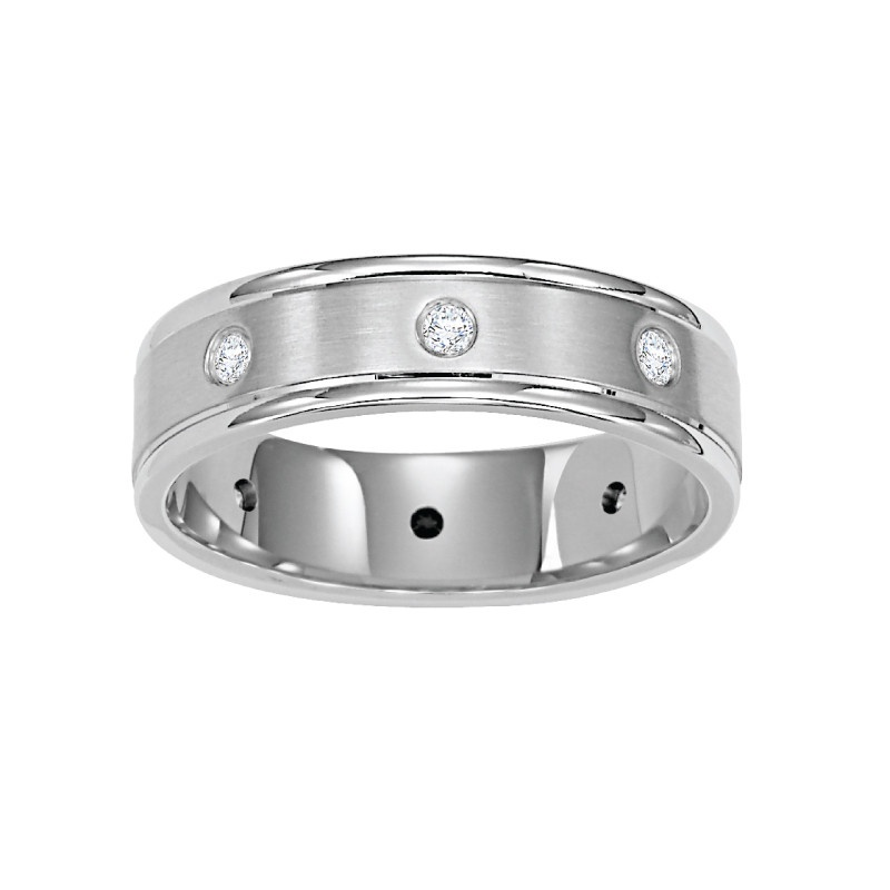 Diana 14k white gold 6mm bezel set diamond wedding band