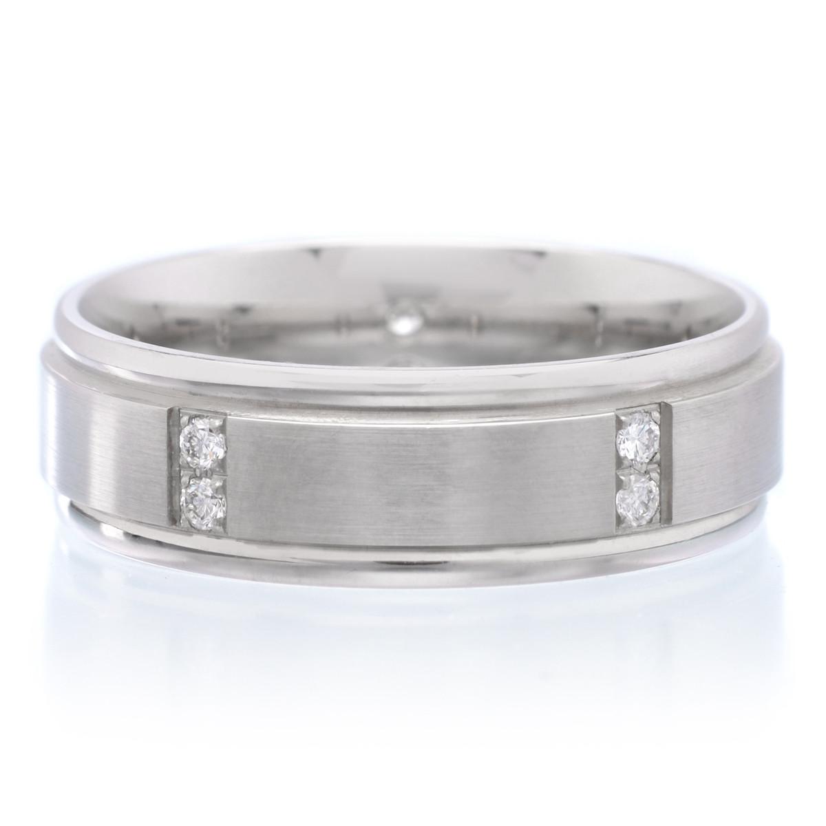 Ritani palladium 7mm satin finish band with diamonds