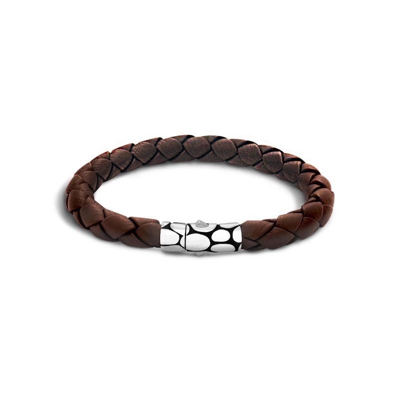 John Hardy Kali Woven Brown Leather Bracelet