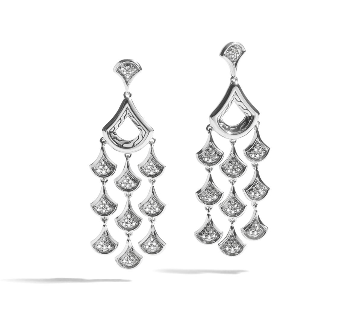 John Hardy Naga Chandelier Earrings with Diamonds