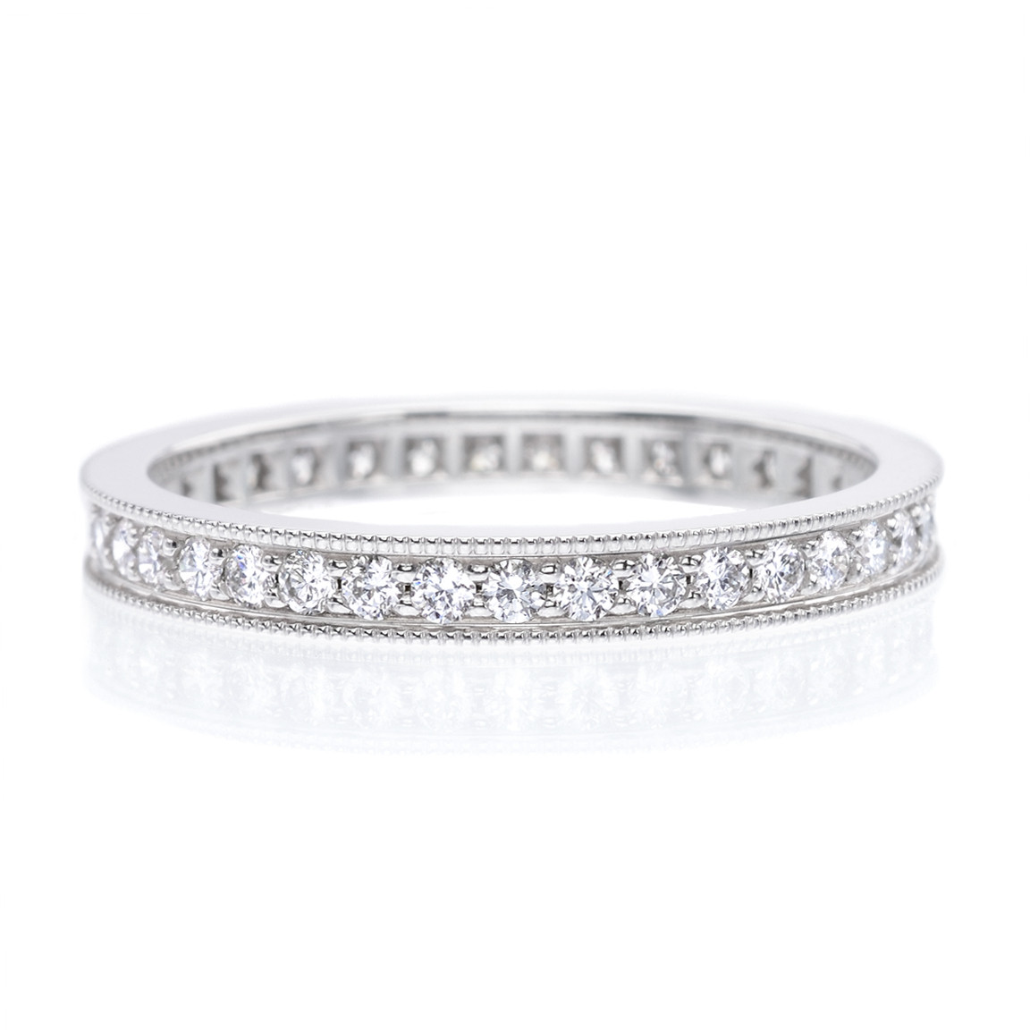 Long's 18K White Gold Bead Set Diamond Eternity Band With Milgrain