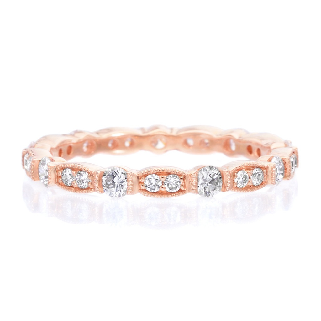 Long's 18K Rose Gold Bezel Set Diamond Eternity Band With Milgrain