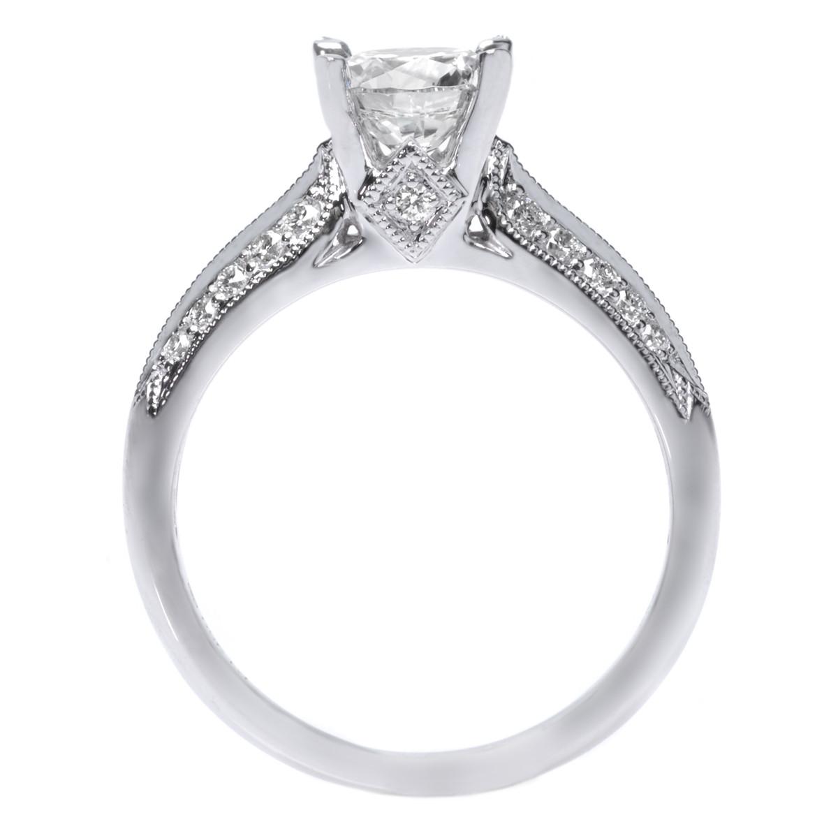Platinum Knife Edge Pave Diamond Engagement Ring