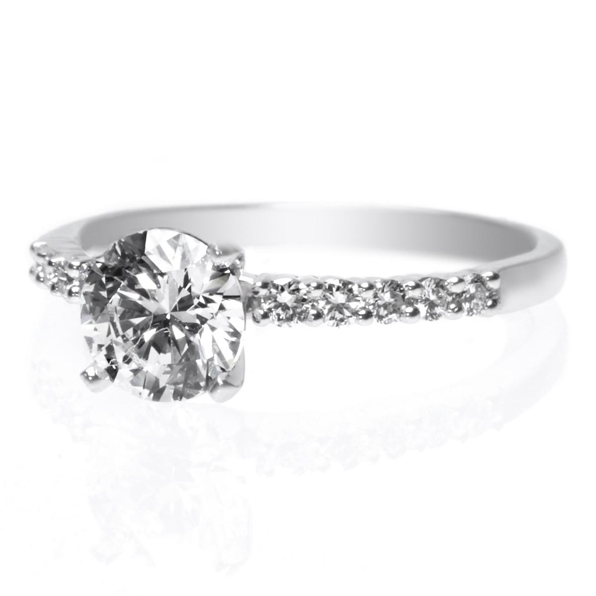 Platinum Four Prong Ten Stone Diamond Engagement Ring