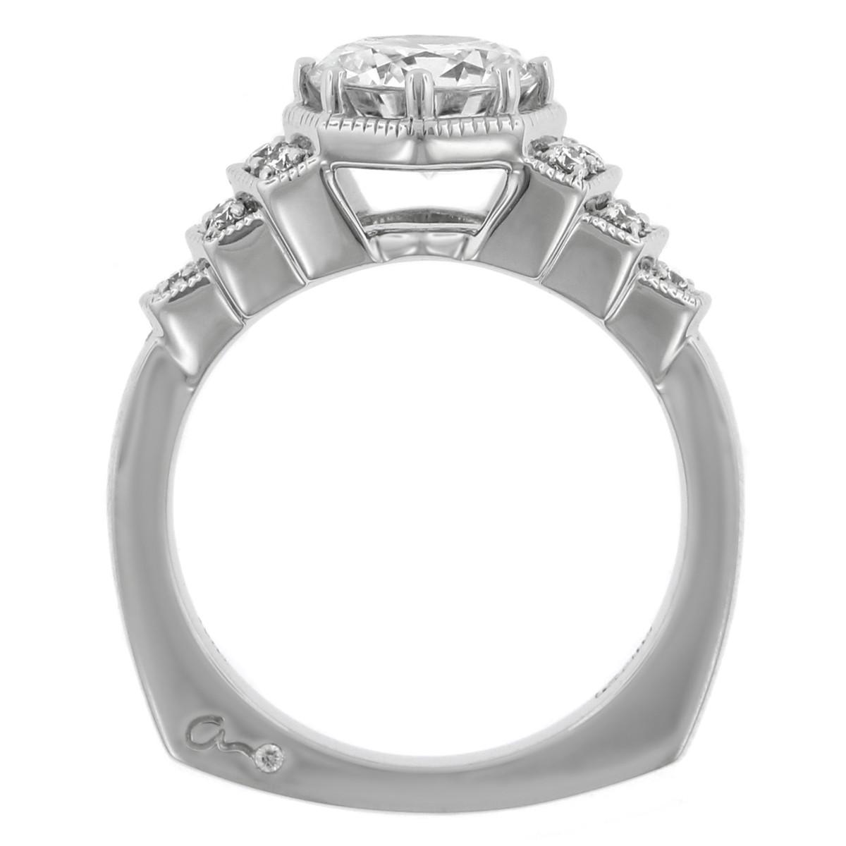 18K White Gold Art Deco Inspired Diamond Engagement Ring