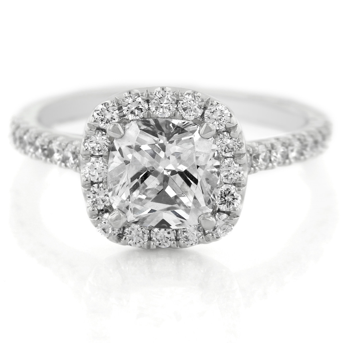 A. Jaffe Cathedral Open Bridge Halo Cushion Engagement Ring