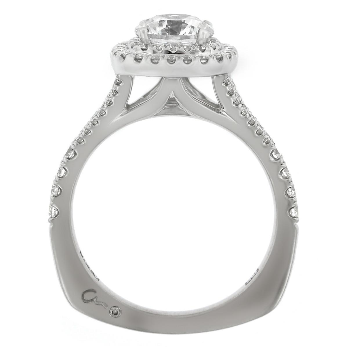 18K White Gold Split Shank Double Diamond Halo Engagement Ring