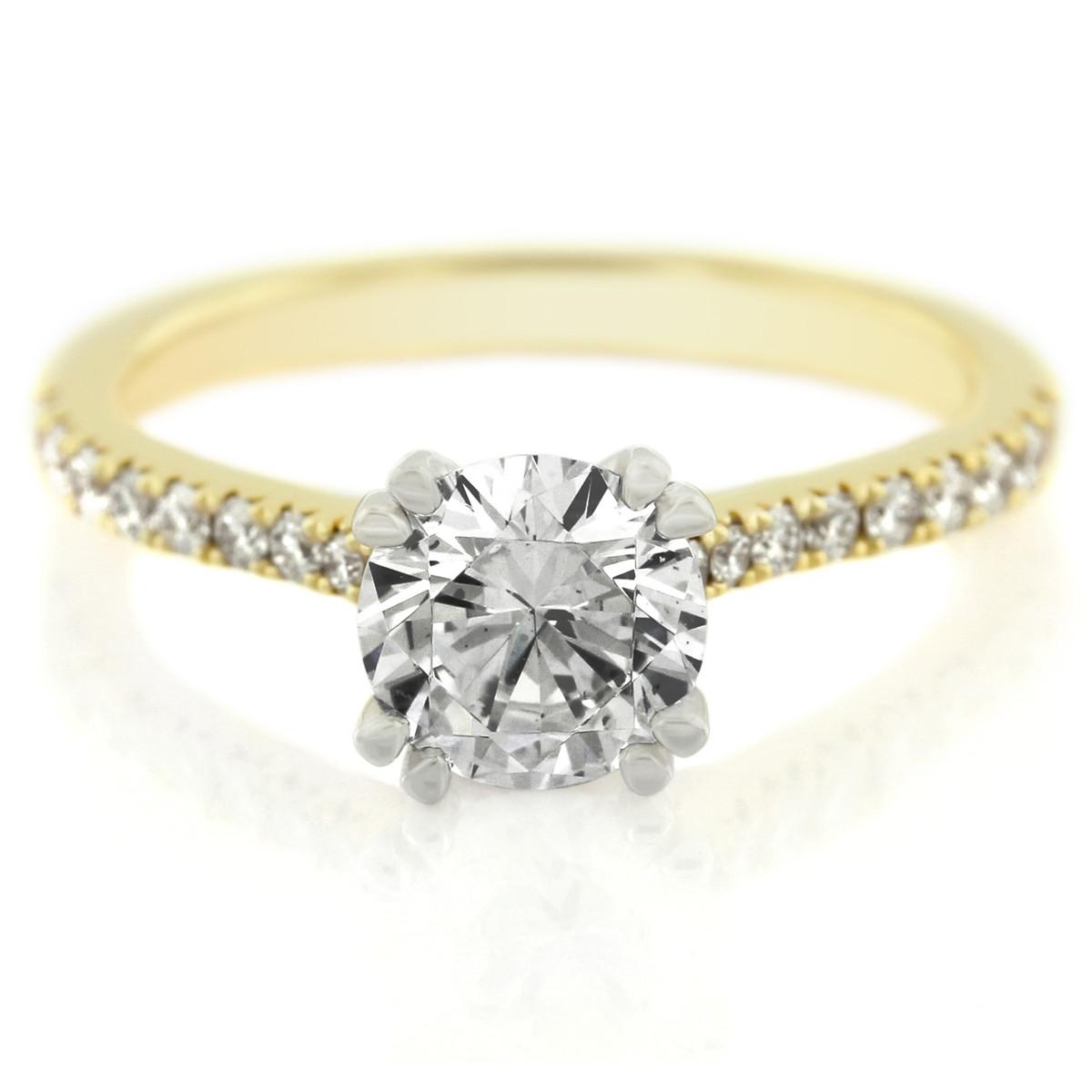 18K Yellow Gold Four Prong Diamond Engagement Ring