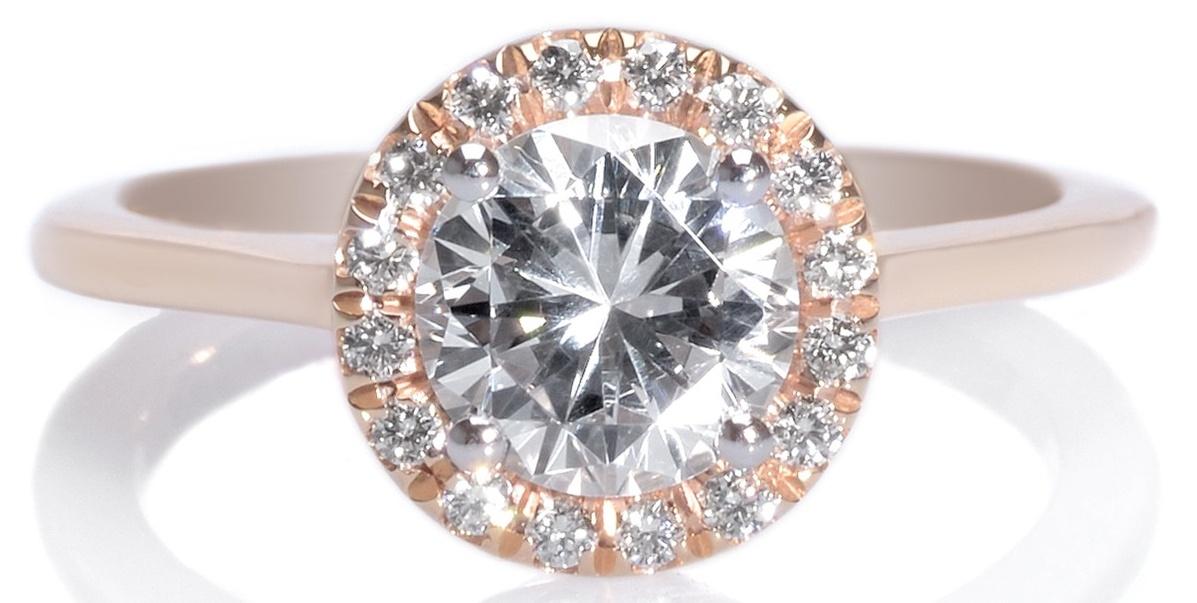 18K Rose Gold & Platinum Round Diamond Halo Engagement Ring
