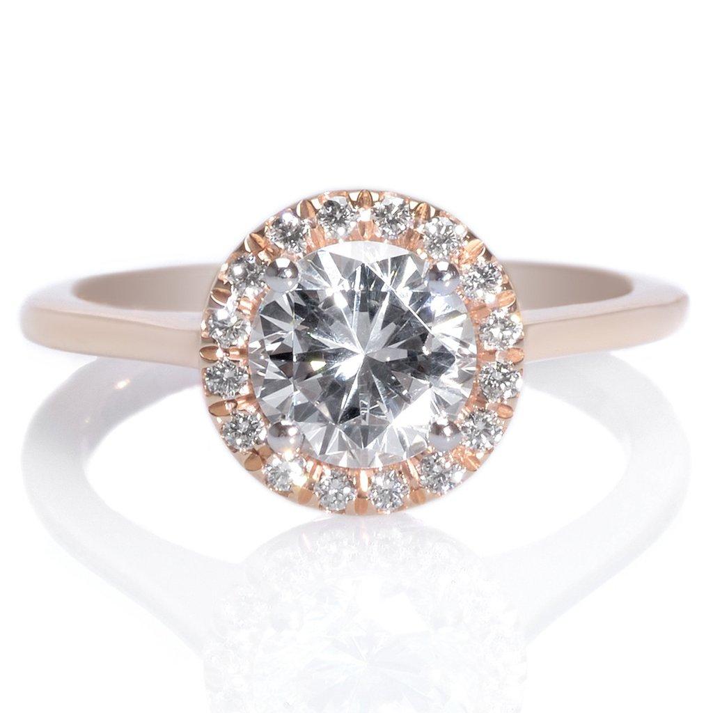 Mark Patterson Rose Gold & Platinum Round Diamond Halo Engagement Ring
