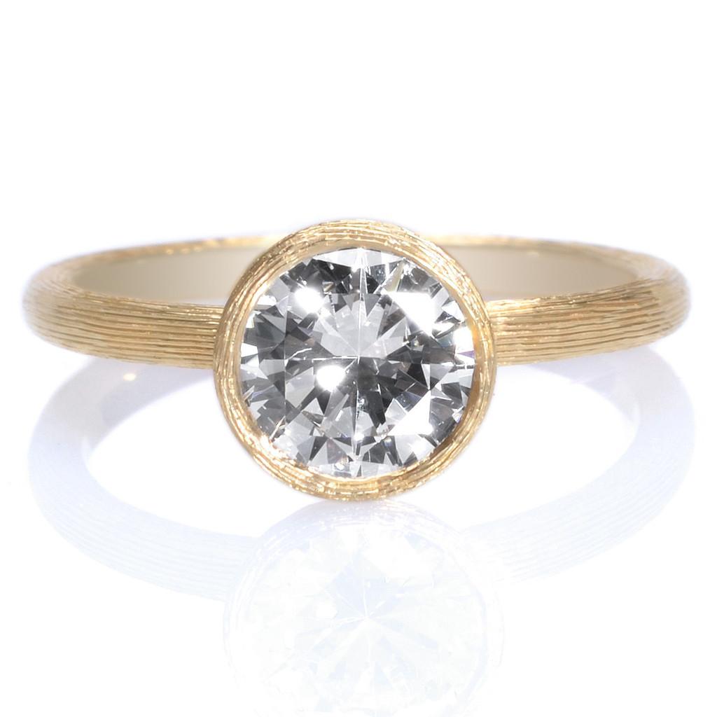 Mark Patterson Yellow Gold Bezel Set Diamond Engagement Ring