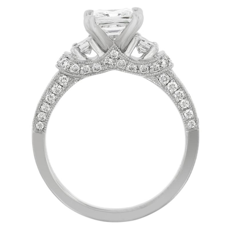 Platinum Tiara Three Stone Diamond Engagement Ring