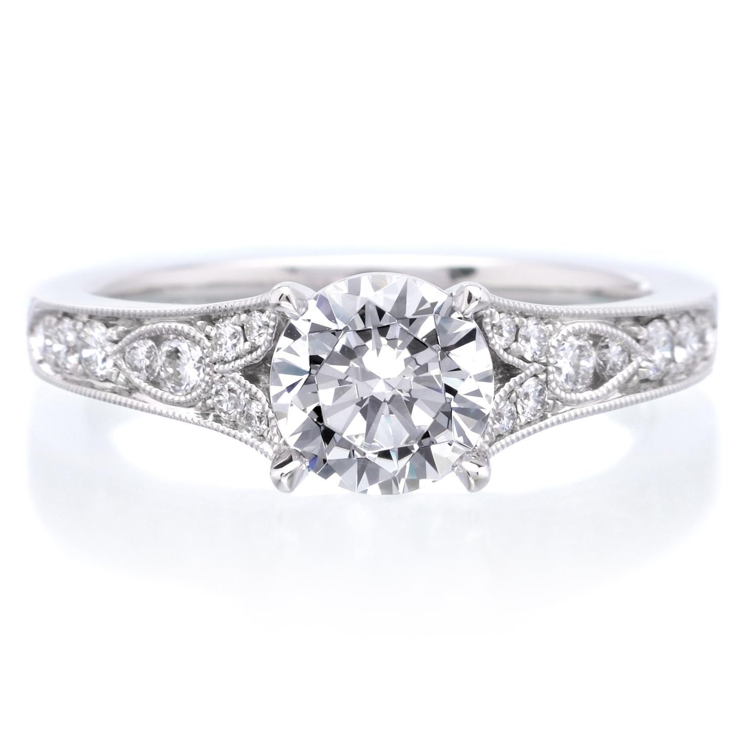 Sylvie Platinum Antique Designed Diamond Engagement Ring