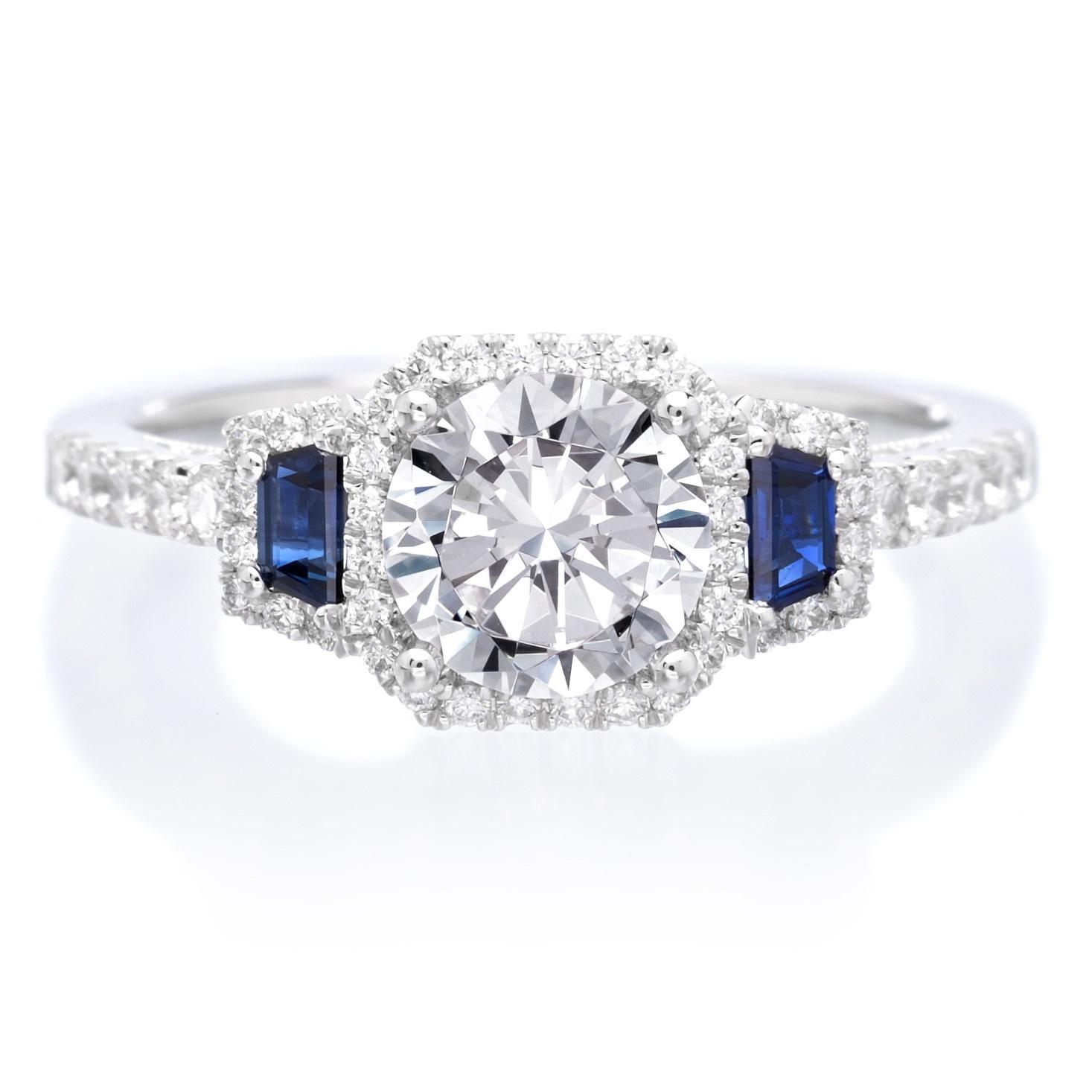 18K White Gold Three-Stone Diamond and Blue Sapphire Engagement Ring
