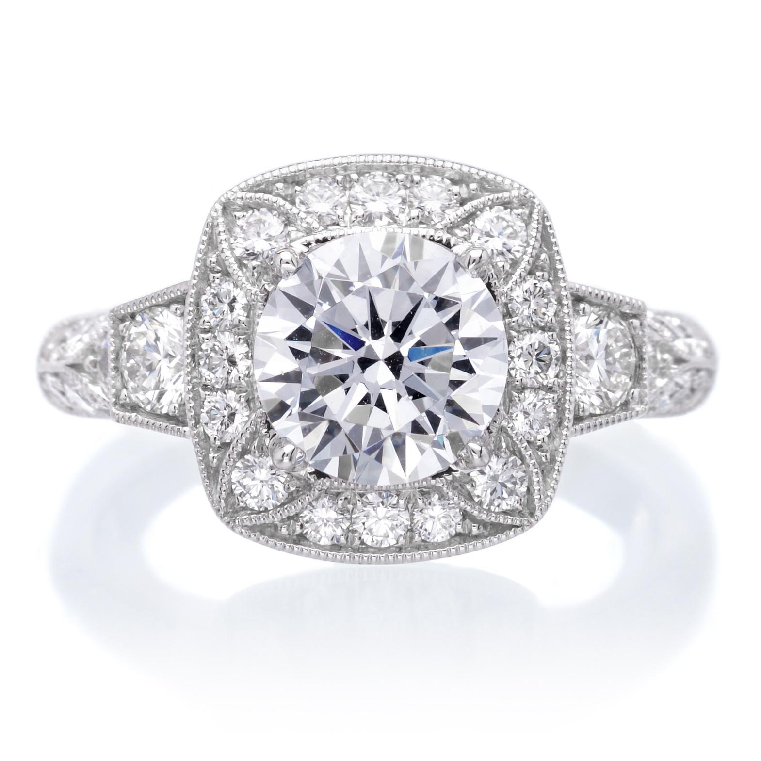 Sylvie 18K White Gold Designer Cushion Halo Diamond Engagement Ring