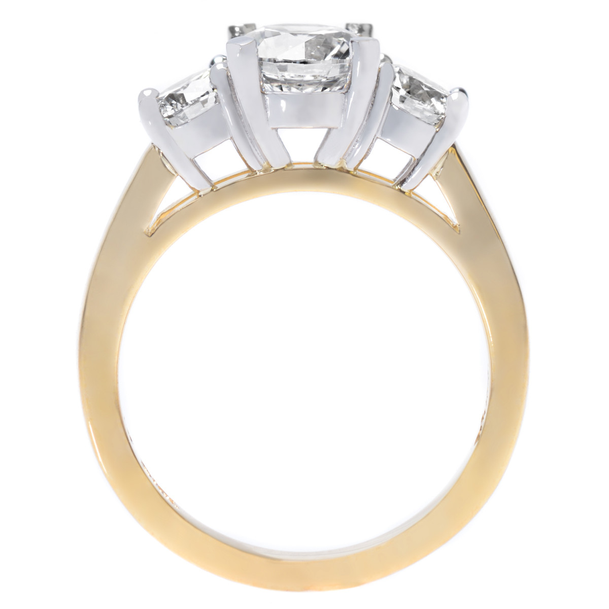 Long's SIgnature Collection Yellow Gold & Platinum Three Stone Engagement Ring