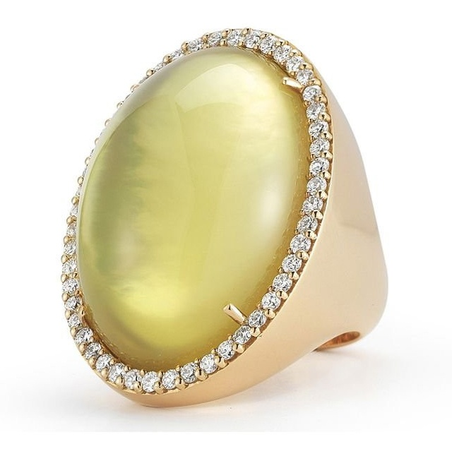 Roberto Coin Rose Gold Large Oval Diamonds, Lemon Quartz, and Mother of Pearl Oversized Gemstone Ring