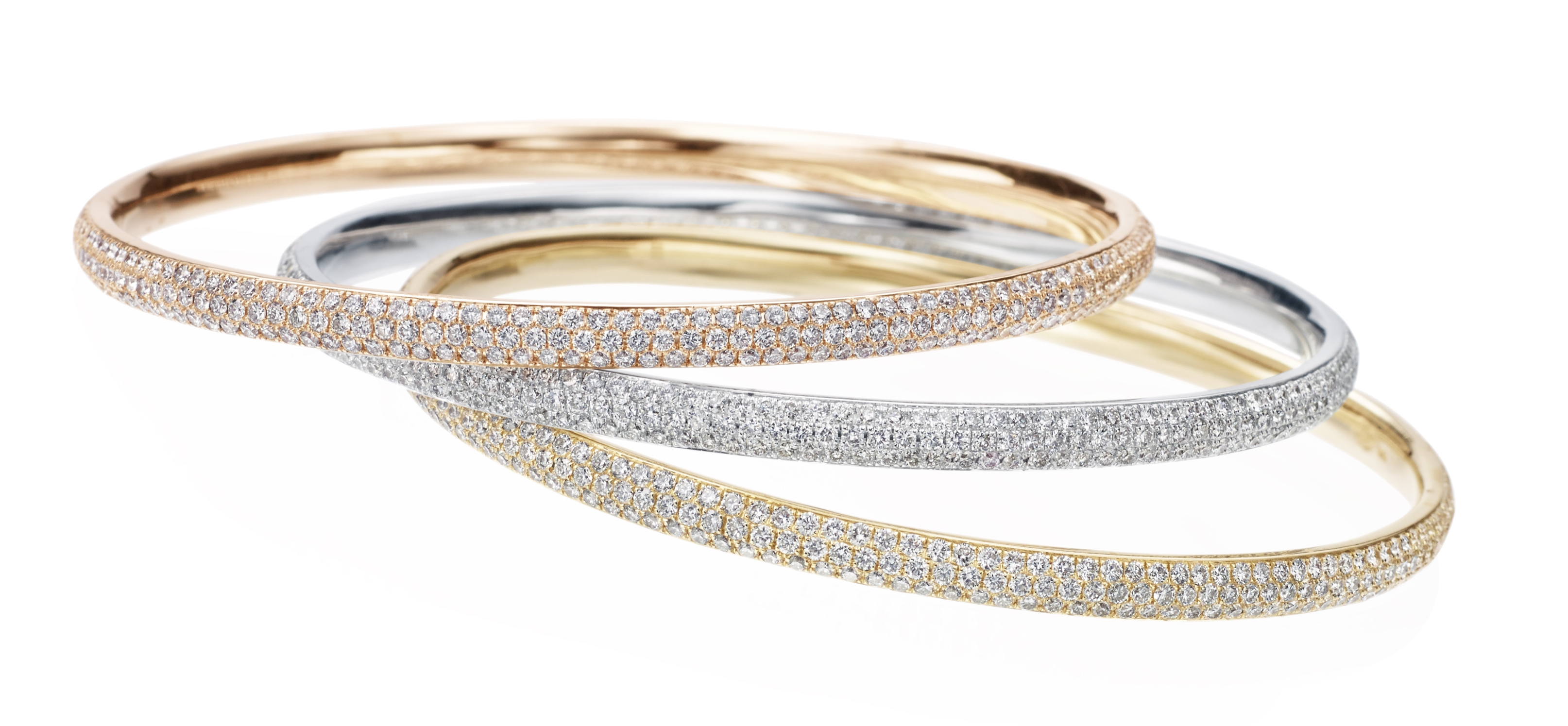 18K Rose Gold, White Gold & Yellow Gold Diamond Bangle
