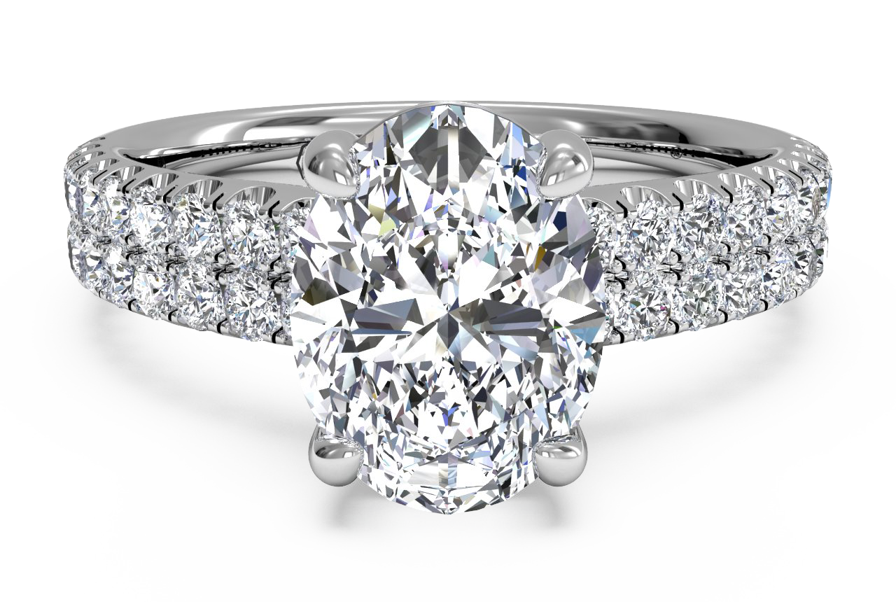 Double French-Set Band Oval Diamond Engagement Ring