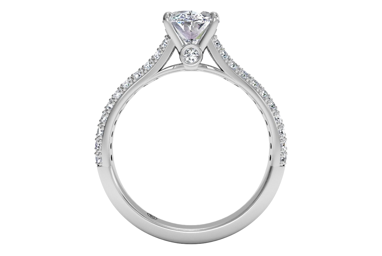 Oval Diamond Double French-Set Diamond 'V' Engagement Ring With Surprise Diamonds