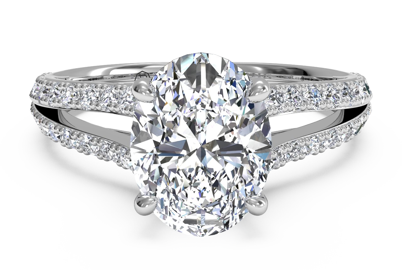 ritani oval ut french-set diamond v engagement ring with surprise diamonds