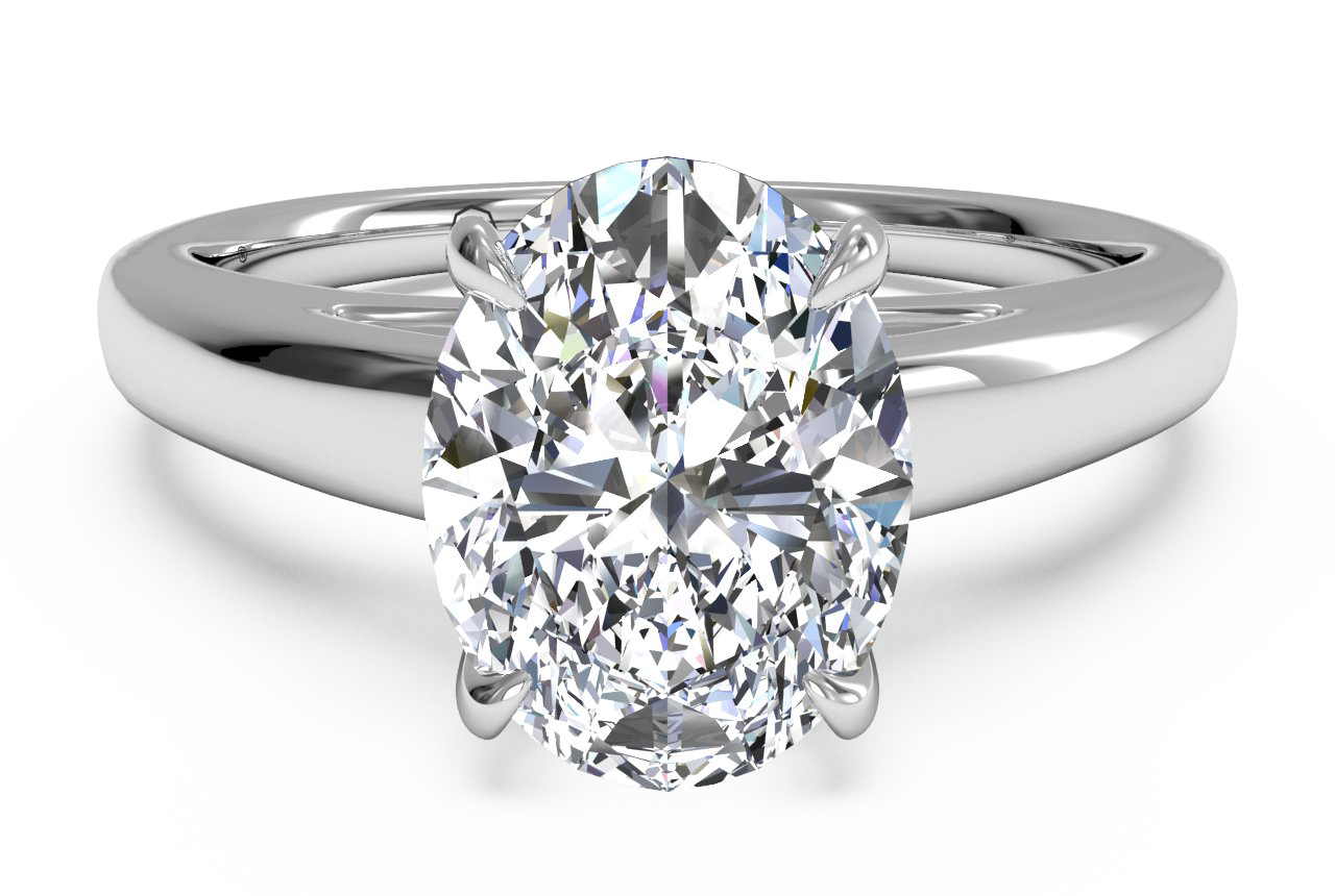 ritani ovsl cut solitaire diamond cahedral engagement ring