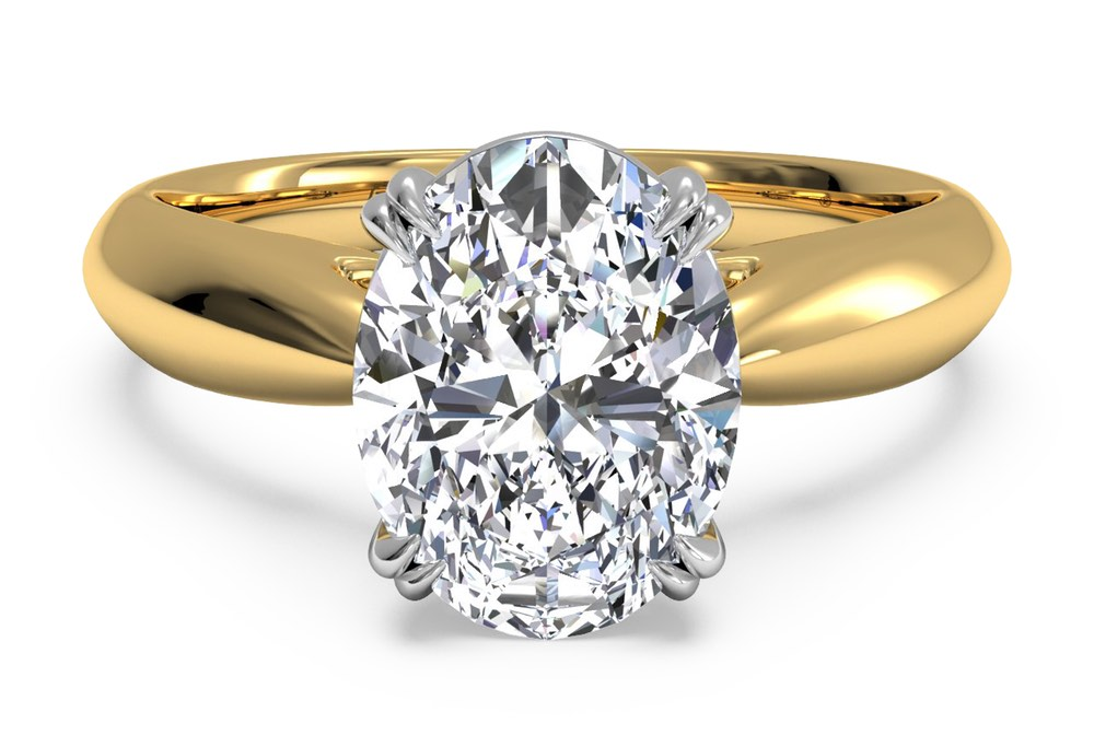 ritani oval cut solitare diamond engagement ring in 18k yellow gold