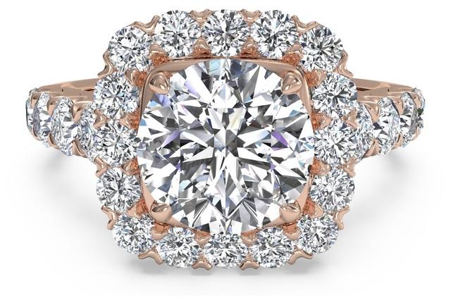 Ritani Rose Gold Masterwork Cushion-Cut Halo Diamond Band Engagement Ring