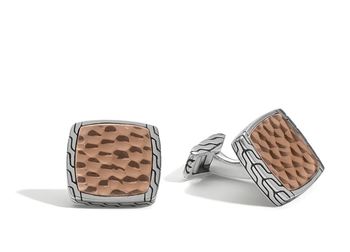 John Hardy Classic Chain Square Hammered Cufflinks in Bronze