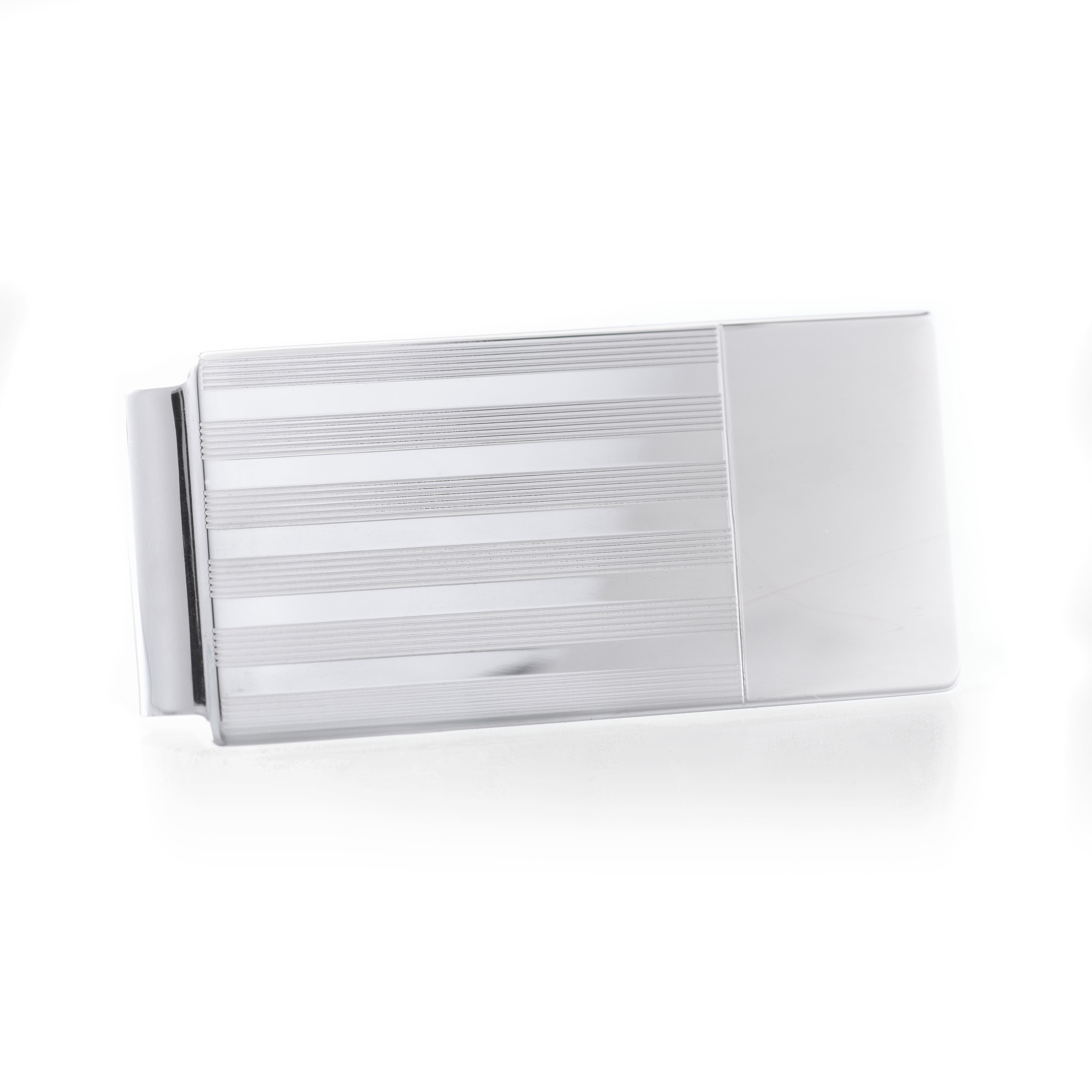 Sterling Silver Money Clip with Lines and Engravable Edge