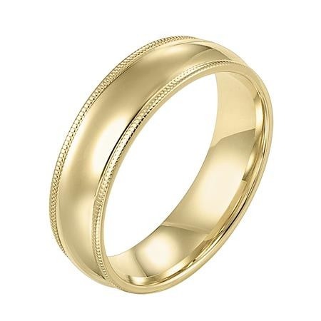 diana 14k yellow gold low dome band with milgrain