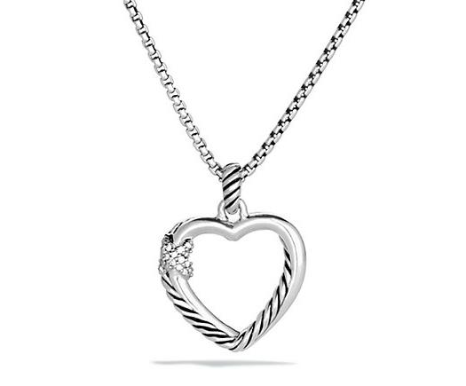 David Yurman Petite X Heart Pendant Necklace with Diamonds