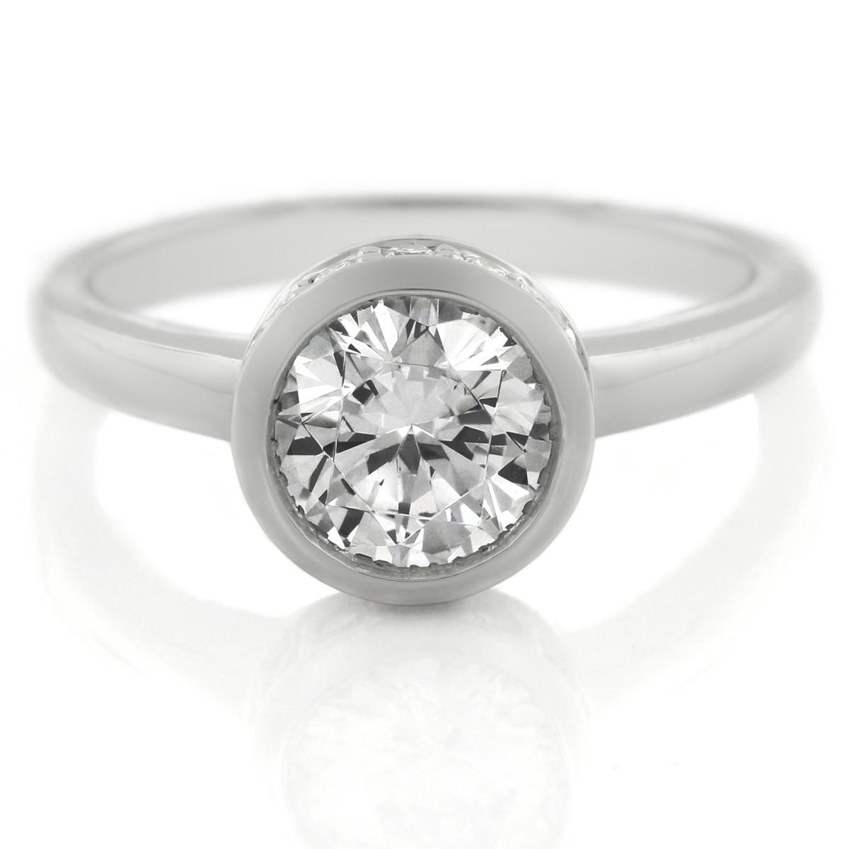 Platinum Bezel Set Diamond Engagement Ring by A. Jaffe