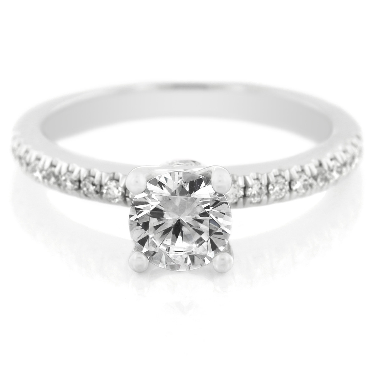 Platinum Four Prong Pave Diamond Engagement Ring with Surprise Diamonds