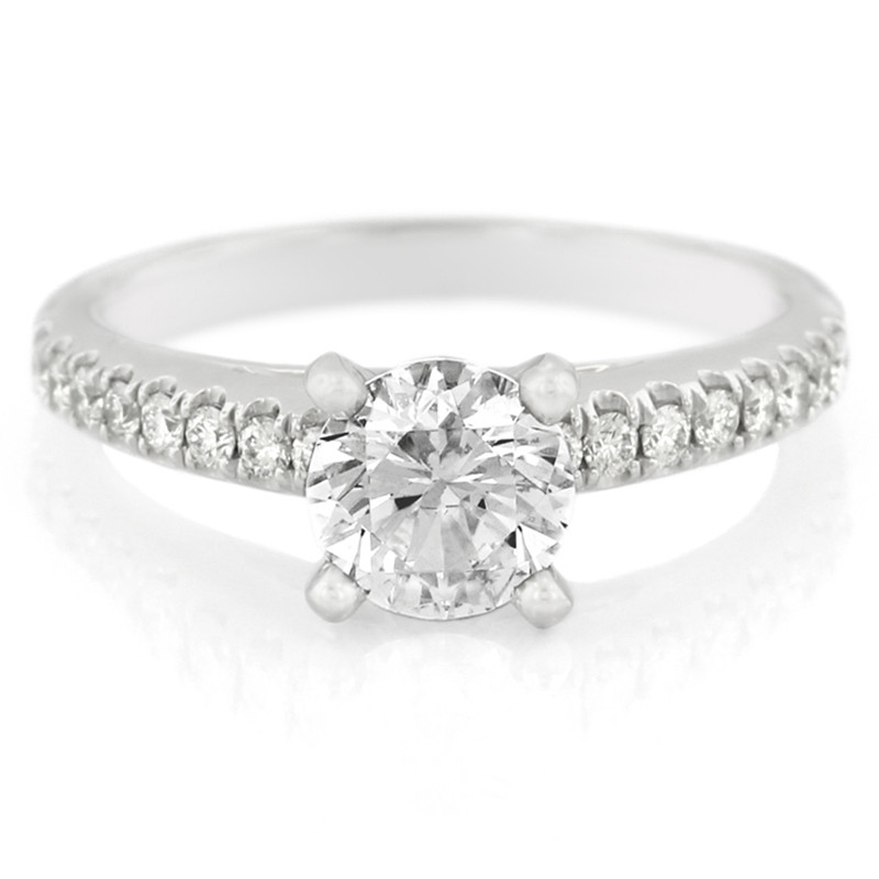 Platinum Radiance Four Prong Diamond Solitaire Engagement Ring with Pave Band