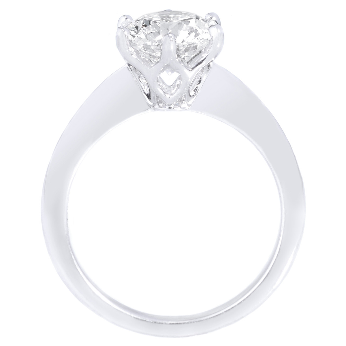 Platinum Six Prong Solitaire Diamond Engagement Ring by Lazare