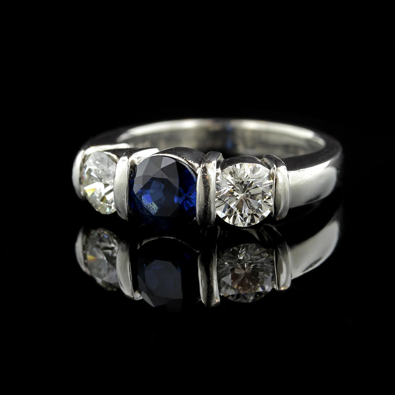 Platinum Three Stone Sapphire and Diamond Ring