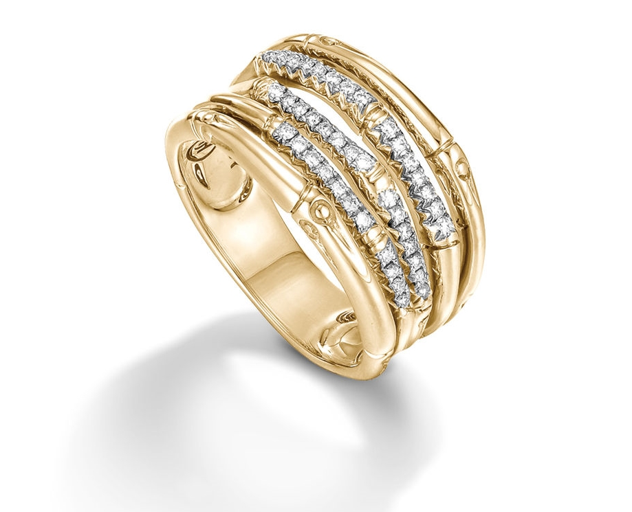 John Hardy Bamboo Ring with Diamonds in 18K Yellow Gold