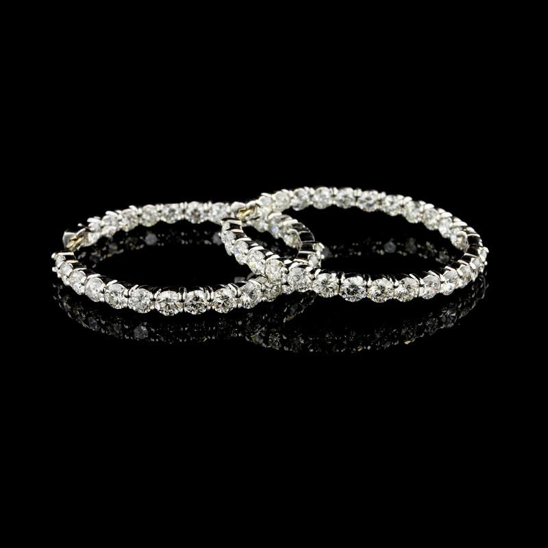 Roberto Coin 18K White Gold Large Diamond Hoop Earrings