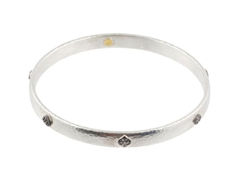 Gurhan Sterling Silver Thin Hoopla Pave Bangle Stacking Bracelets
