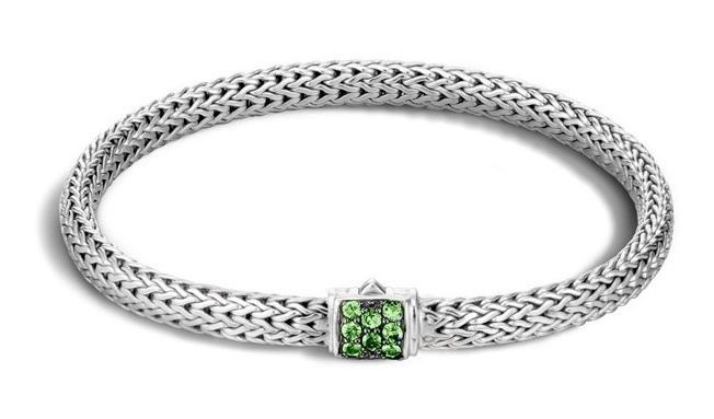 John Hardy Classic Chain Extra Small Bracelet with Tsavorite