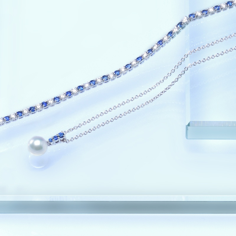 Mikimoto Pearl Necklace Sapphire and Diamond Bracelet Beach Wedding Flair Boston