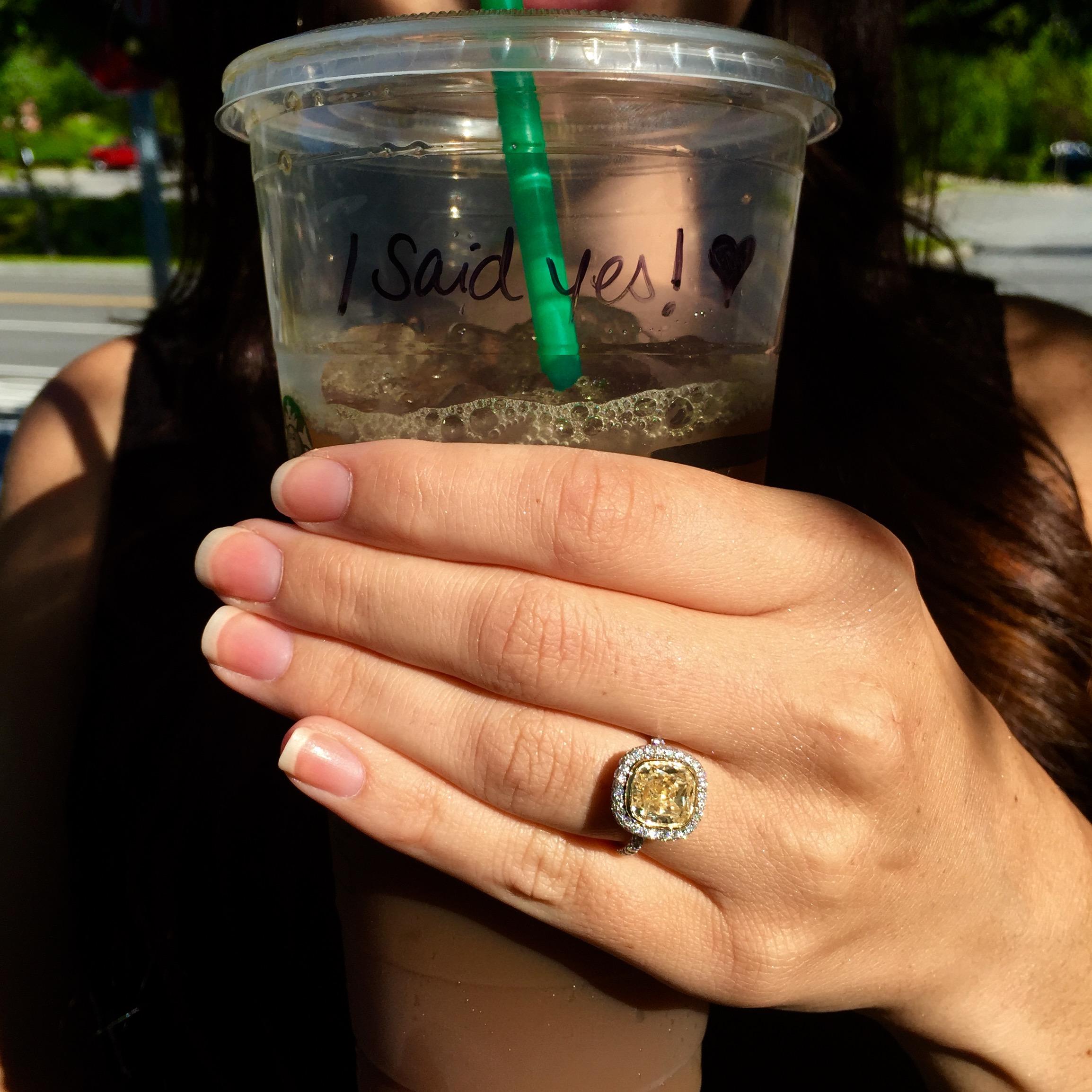 Starbucks Prop Pic - Yellow Diamond Engagement Ring Selfie - Long's Jewelers